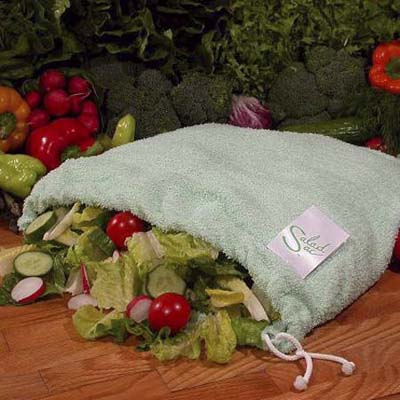 Salad Sac bag made for keeping vegetables dry and crisp