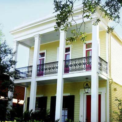 Greek Revival with a double-tiered porch in the Lower Garden District, New Orleans, Louisiana