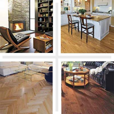 engineered wood floors in three living rooms and a kitchen