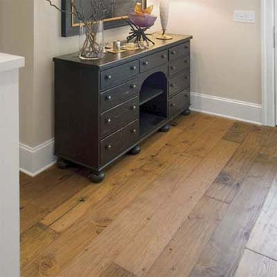 engineered wood wide-plank pine with a hand-scraped surface