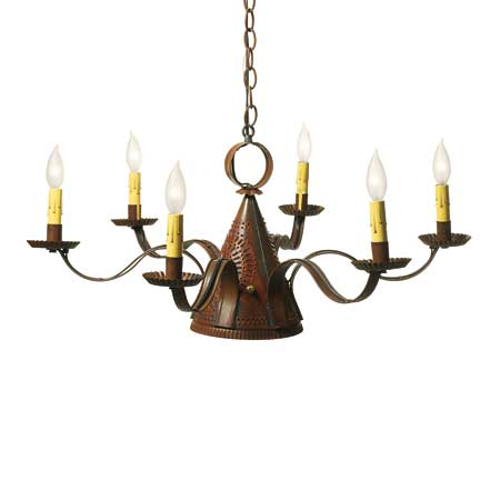 punched-tin chandelier with a Witch's Hat design
