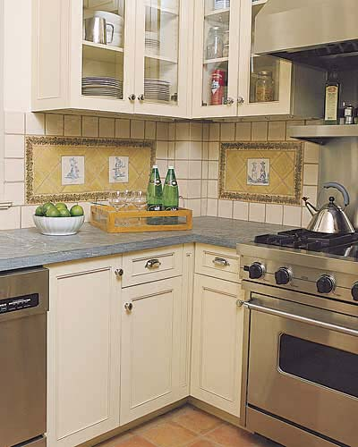 Decorative tile in a small country kitchen