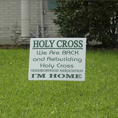 holy cross sign, rebuilding in New Orleans