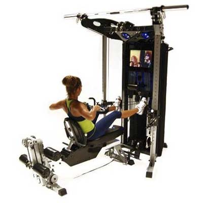collapsible home gym with built-in media center