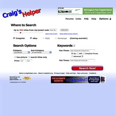 Craig's Helper helps you troll through craigslist by locale