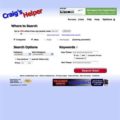 Craig's Helper helps you troll through craigslist by locale
