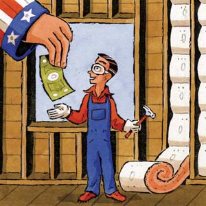 cartoon of giant uncle sam giving money to worker standing near insulation batts