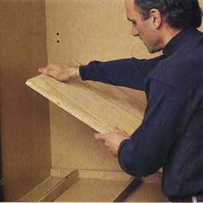 Build up the height of the main utlility cabinet with plywood