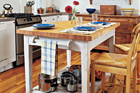 kitchen island with a butcher-block surface