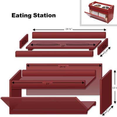 cut list diagram to help you build a pet feeding station