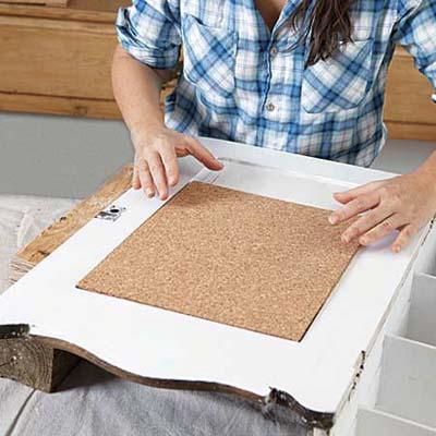 adhering cut cork board on inside of cabinet door