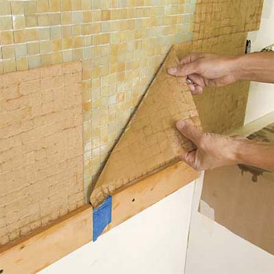 peel off the paper how to install a glass mosaic tile