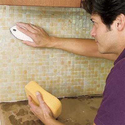 Clean the Tile | How to Install a Glass Mosaic Tile Backsplash