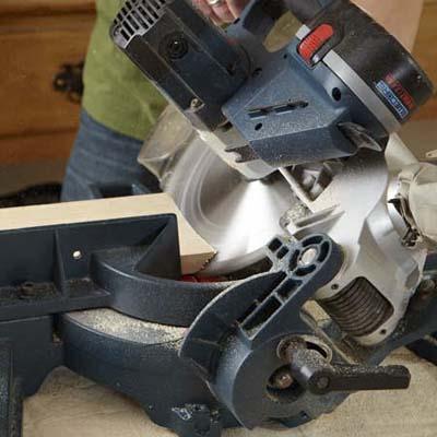 miter saw cutting fascia board