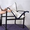 man securing new chair sling onto chair frame