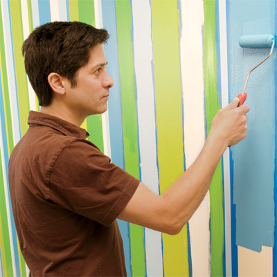 finish painting the field when painting a striped wall