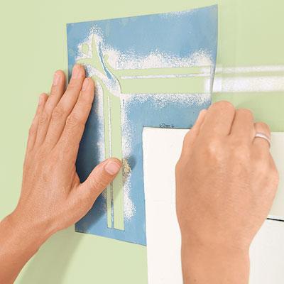placing the corner stencil