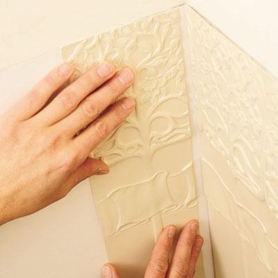 installing the Lincrusta wainscot panel inside a corner