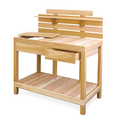 a potting bench made by Eartheasy
