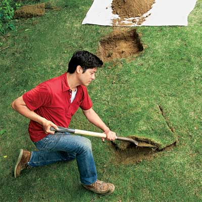Excavate the Soil to make a planter bench