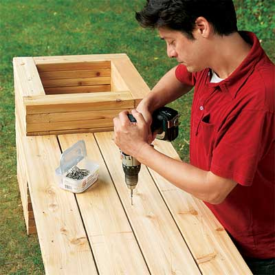 deck bench planter plans