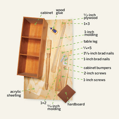 cut list materials for building a desk with a storage hutch