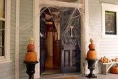 an entryway with a fake bone door knocker