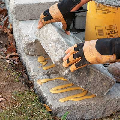 stack the courses to build a stone planter