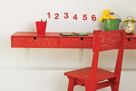 Paint spattered child's desk and chair