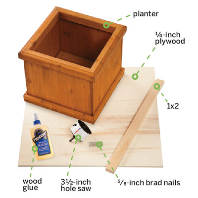 the materials needed for building a wine rack from a planter box