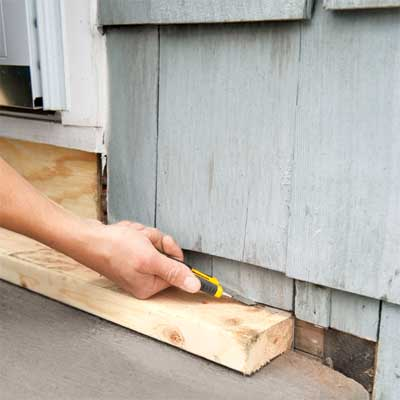 trim the shingles to clad concrete steps in stone