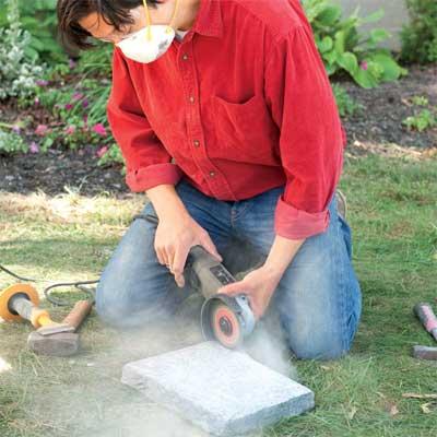 score the concrete to clad concrete steps in stone