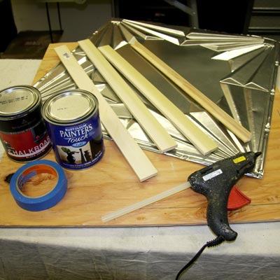 materials for building a tin-tile chalkboard