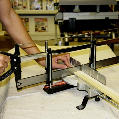 cutting hardwood strips with a miter saw