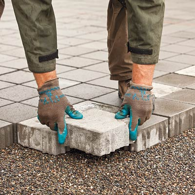 placing concrete permeable-pavers for a new driveway