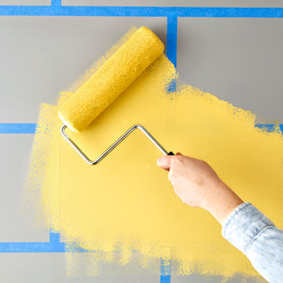 rolling on yellow paint