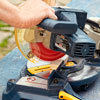 cutting cap trim with a miter saw for a storage bed