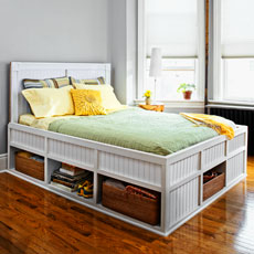 a finished storage bed