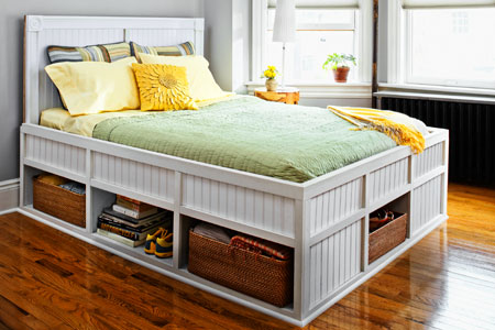 queen platform bed with storage plans