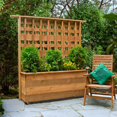 a finished planter with built-in trellis