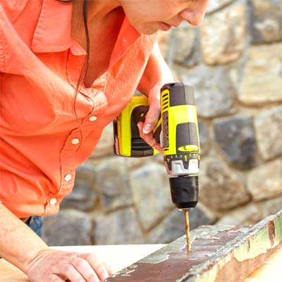 Drill Pilot Holes for the Handle Posts to build a Spigot-Handle Tool Rack