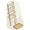 exploded view of a ladder bookshelf with parts highlighted