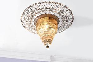 a stenciled ceiling medallion