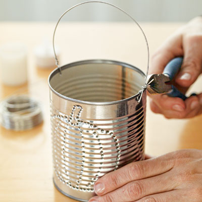how to make tin can luminaries adding handle to tin can luminary