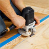 adding a grooved edge to a herringbone pattern floor with a router