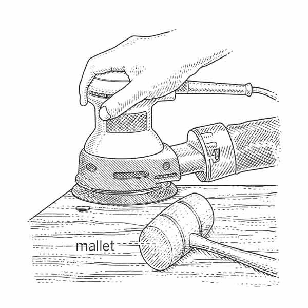 illustration of person sanding and hiding screw head with wood plug in stair tread
