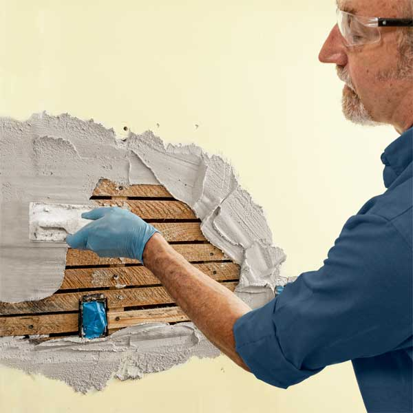 Apply the scratch coat how to repair plaster this old house for How to repair interior stucco walls