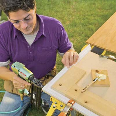 Using a brad nailer and 2-inch nails, secure the mitered corner