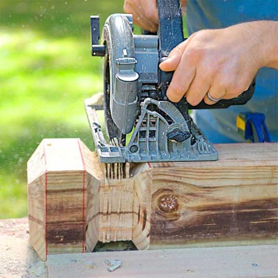 Create the Decorative Notch: Make the Kerf Cuts To Build a Decorative Driveway Marker