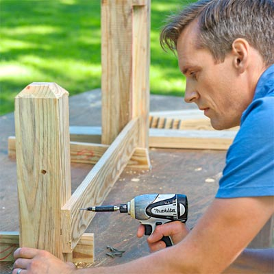 Build the frame: Attach the First Bottom Rail Build a Decorative Driveway Marker